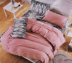 Four Piece High Quality Zebra Print Cotton Duvet Cover Sets Multicolor 4*6
