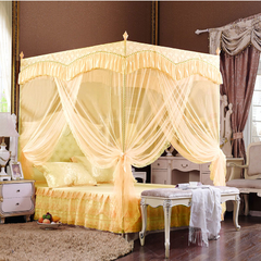 High Quality European Court Style Three Doors Purple Mosquito Nets sm811 Light Yellow 5*6