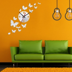 14 Butterfly Fashion DIY 3D Mirror Wall StickerClock Home Decoration Unique Gift photo color