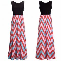 Round neck stitching sleeveless dress womens wave striped dress Color 1 S