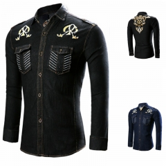 Men 's fashionable black and blue stitch pattern cowboy long - sleeved shirt black l