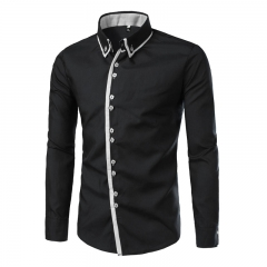 The new 3 d long sleeve shirt Man splicing contracted leisure long-sleeved shirts black m