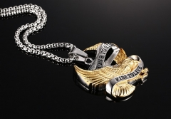 Personality retro punk rock Metrosexual Pendant Necklace Pendant titanium jewelry Eagle color one size