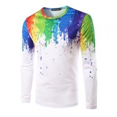 The fashion leisure splash-ink men's short sleeve T-shirt printing design colour m