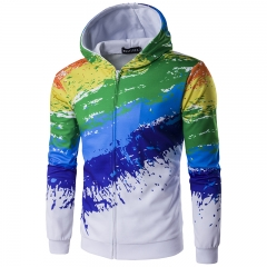 Man 3 d rainbow splash-ink Hooded zipper cardigan garment unlined upper garment color 6 m
