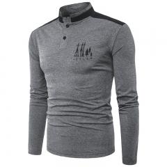 Men's casual long-sleeved collar collar T-shirt 11 m