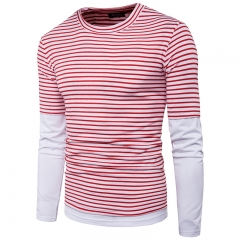 Simple striped fake two-piece underwear men's casual round neck long sleeve T-shirt 11 m