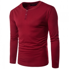 Fashion casual bottoming shirt young men's single-breasted V-neck long sleeve T-shirt tide 11 m