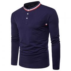 Teenage men's casual wild long-sleeved S-shirt navy blue 11 m