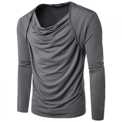 Solid color hair stylist men's casual long-sleeved T-shirt 11 m