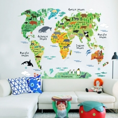 New animal world map bedroom living room background wall stickers waterproof removable as the picture one size