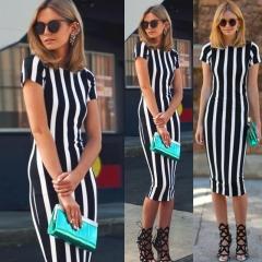 2017  Women Striped Fitness Dresses Work Style Sexy Short Sleeve Sheath Office Midi Dress Plus Size Black S