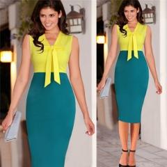 2017 Women Dress Summer Sleeveless Office Dresses V-neck Contrast Color Pencil Work Dress Yellow S
