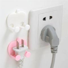 2PCS Multifunction Finishing Plug Holder Sticky Hooks plastic Wall Mounted Type Rack Random 2PCS