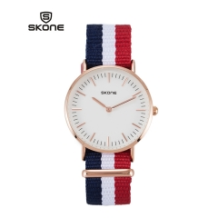 SKONE Watch Nylon Fabric Webbing Band Couple Watches Women Rose gold