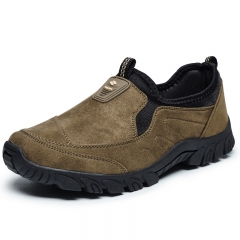 Mens Outdoor Casual Leather Shoes High Quality Suede Leather Shoes Slip On Flat Shoes Size 39~44 brown 39