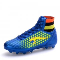 Men Women Football Soccer Boots Leather High Top Soccer Training Football Sneaker Size 35~45 blue 39