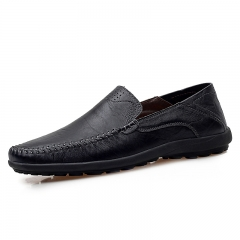 Men's Cow Split Leather Casual Shoes Brown Breathable Driving Shoes Loafers Flats Shoes Size 38~44 black 39