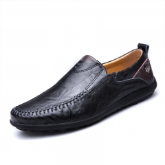 Men's Shoes Brown Leather Loafers Slip On Men Casual Shoes Black Genuine Leather  Lazy Footwear black 39