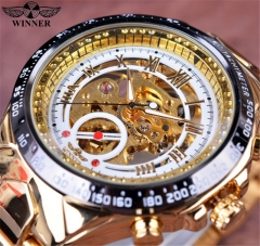 Men's Automatic  Hollow Engraving Stainless Watch white