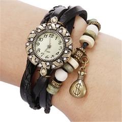 Women 's dollar purse Quartz PU Bracelet Watch black