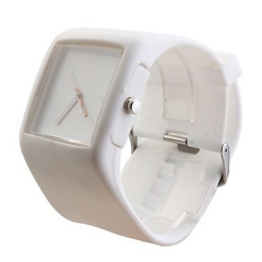 Silicone Band Fashion Women Men Unisex Casual Jelly Sport Watch white