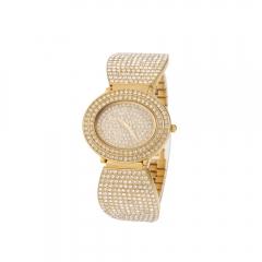 Ms luxury fashion drill style quartz watch golden