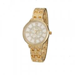 Women's Diamante Vine Pattern Dial Alloy Band Quartz Analog Wrist Watch golden