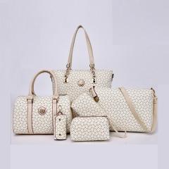 6PCS New simple lady handbag shoulder bag white free size