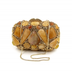 Luxury agate gemstone diamond dinner package RQE gold free size