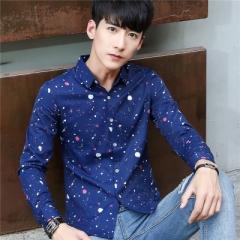 New Arrived 2017 mens work shirts Brand Long sleeve striped men dress shirts blue m