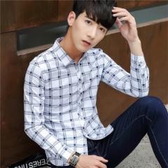 Autumn New 2017 Men Striped Dress Shirt Formal Fashion Long Sleeve Brand Business Men Casual Shirt blue m