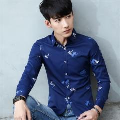 Fashion Casual Men Shirt Long Sleeve Shirt Men Korean Business Mens Dress Shirts Men Clothes blue m