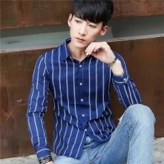 Men Shirt  Cotton 2017 Spring Autumn Casual Long Sleeve Shirt Soft Comfort Slim Brand Man Clothes blue m