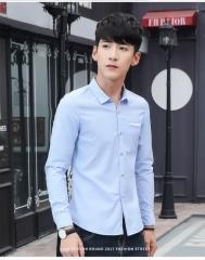 Classic Striped Men Dress Shirts Long Sleeve Plus Size Business Formal Shirts Male blue m