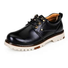 New Genuine Leather Men Shoes Derby Style Embossed Cow Leather Lace Up Round Toe Dress Shoes black 39