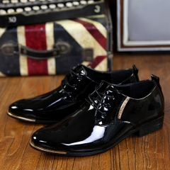 Luxury Patent Leather Business Oxfords Men Dress Shoes  Black Flats Fashion Party Wedding Shoes black 39
