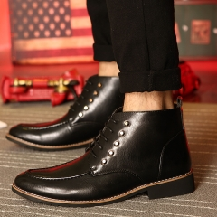 Chic Mens Riding Punk Buckle Ankle Boots Knight Dress Boots Cool black 39