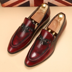 Classic Men Dress Shoes Genuine Leather Texture Wine Red Casual Low Cut Business Shoes Wedding Flats red 39