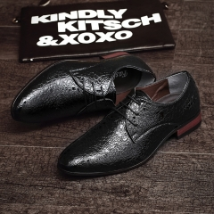 2017 New Arrival Spring Luxury Brand Men Oxfords Shoes High Quality Business Derby Dress Shoes black 39