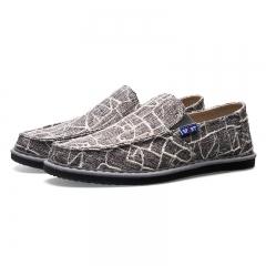 2017 Spring Summer Men Shoes Hemp Fashion Breathable Slip on Mens Casual Shoes Men Flats grey 39
