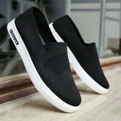 2017 Summer Shoes Men Loafers Casual Slip-on Canvas Breathable Soft Shoes Men Flats Driving Shoes black 39