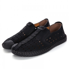 Summer Slippers Men New Hollow Out Breathable Beach Leather Sandals Shoes Casual Slip-on Flats black 39