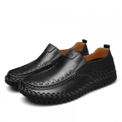 Fashion British Style Men Causal Shoes Genuine Leather Slip On Men Shoes Outdoor Shoes black 39