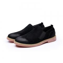 New Fashion Boots Winter Warm Men Shoes Leather Suede Shoes Men's Flats black 39