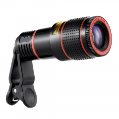 Universal 12X Zoom Mobile Phone Clip-on Telescope Camera Lens black one size