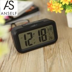 Anself LED Digital Alarm Clock Snooze Light-activated Sensor Backlight Time Date Temperature Display