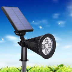 Solar Powered Spotlight 2-in-1 Adjustable 4 LED In-Ground Light  Wall Light- Auto-On / Off( Black) black 2W