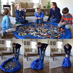 Portable Kids Toy Storage Bag and Play Mat Lego Toys Organizer blue