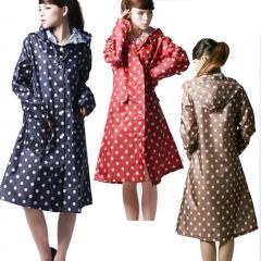 Raincoat Women Polka Dots Outdoor Travel Waterproof Riding Clothes Raincoat Poncho Hooded Knee blue